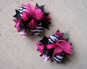 Pigtai lHair Bows, Colorful Hair Ribbon, Custom Baby Hairbow, Ribbon Hair Clip, Baby Hair Bow Clip, Pink and Black Bow