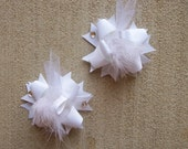 Hair Bows Set of 2---Mini Funky Fun Over the Top Bows---Pure White---Perfect for Spring and Summer