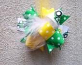 Farm Bow, Colorful Hair Ribbon, Custom Baby Hairbow, Ribbon Hair Clip, Baby Hair Bow Clip, Tractor Bow