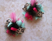 Hair Bows Set of 2---Mini Funky Fun Over the Top Bows---Trendy Leopard---Hot Pink, Aqua, and Leopard Print