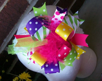 Hair Bow---Funky Fun Over the Top Bow---Eye Candy----Super Fun Color Combination---