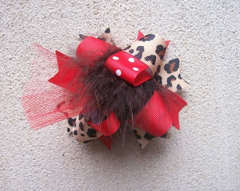 Hair Bow---MINI Funky Fun Over the Top Bow---Red and Cheetah Print---