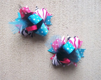 Hair Bows Set  2---MINI Funky Fun Over the Top Bows---Made to Match Mud Pie WILD Child--- Turquoise, Hot Pink and Zebra Print