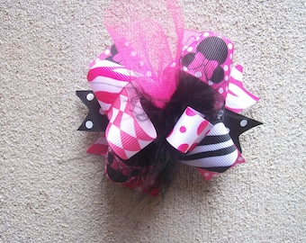 Hair Bow---MINI Funky Fun Over the Top Bow---Minnie Mouse---PInk, Black and Minnie Ribbon