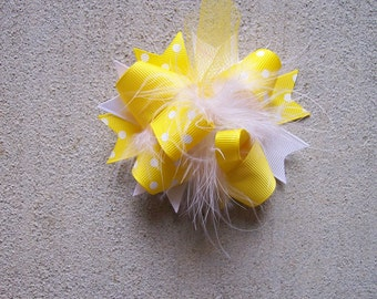 Hair Bow---MINI Funky Fun Over the Top Bow---Yellow and White---Great Basic Colors