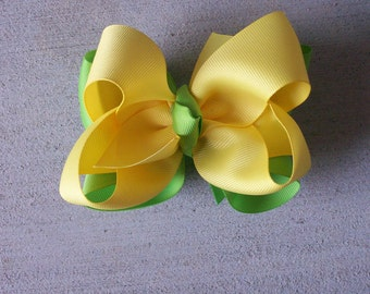Hair Bow---Boutique Double Layer Bow----Yellow and Lime---Perfect for SPRING