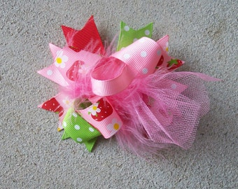 Hair Bow---MINI Funky Fun Over the Top Bow---Strawberry Girl---Perfect for Spring