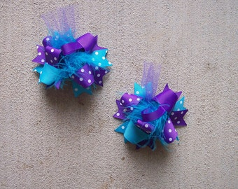 Hair Bows Set of 2---Mini Funky Fun Over the Top Bows---Turquoise and Purple