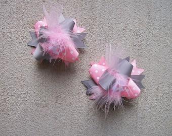 Pigtail Hair Bows, Colorful Hair Ribbon, Custom Baby Hairbow, Ribbon Hair Clip, Baby Hair Bow Clip, Pink and Gra Bow