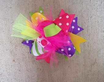 Hair Bow---MINI Funky Fun Over the Top Bows-- Eye Candy---Hot Pink, Lime, Purple, Yellow 3.5-4 inches