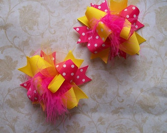 Hair Bows Set of 2---Mini Funky Fun Over the Top Bows----Strawberry Lemonade---Hot Pink and Yellow