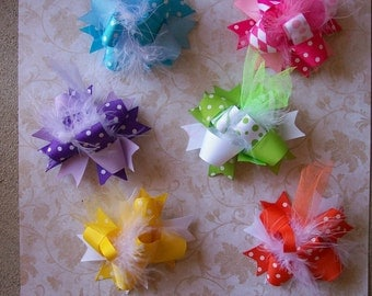 Spring Time Color Mix 6 Total Bows---Mini Funky Fun Over the Top Bows--All The Basic Spring/Summer Colors---Must Have