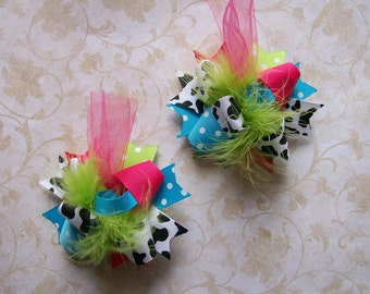 Hair Bows Set of 2---Mini Funky Fun Over the Top Bows---Funky Cowgirl--Cow Print, Pink, Turquoise and Lime