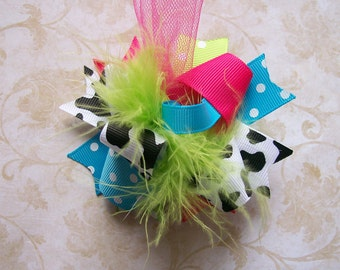 Hair Bow---MINI Funky Fun Over the Top Bow---Funky Cow Girl---Cow Print, Hot Pink, Turquoise, Lime