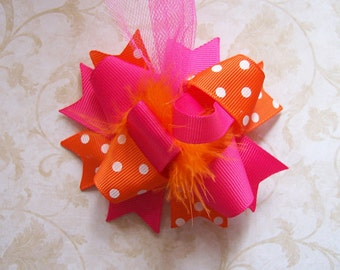 Hair Bow---MINI Funky Fun Over the Top Bow----Hot Pink and Orange---Great for Spring/Summer