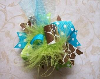 M2M Mud Pie Wild Child Giraffe--Hair Bow---MINI Funky Fun Over the Top Bow----Lime, Turquoise, and Giraffe Print