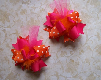 Hair Bows Set of 2---Mini Funky Fun Over the Top Bows---Hot Pink and Orange---Must have for Spring/Summer