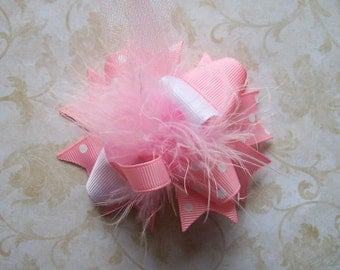 Hair Bow---MINI Funky Fun Over the Top Bow----Light Pink and White---A MUST Have