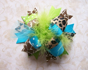 M2M Mud Pie Wild Child Giraffe---Hair Bow---FULL Size Funky Fun Over the Top Bow---Lime, Turquoise, Giraffe Print
