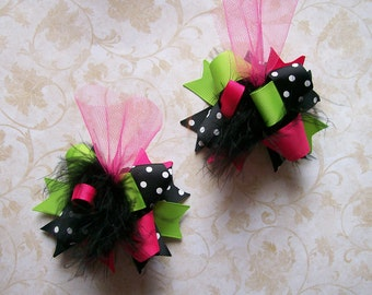 Girls Hair Bows ---Mini Funky Fun Over the Top Bows---Pink, Lime, Black---Set of 2--M2M Peaches N Cream