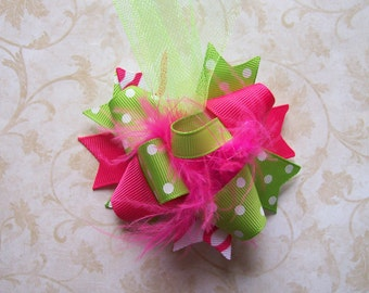 Hair Bow---MINI Funky Fun Over the Top Bow----Pink and Lime---A MUST Have
