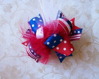 4th of July---Hair Bow---MINI Funky Fun Over the Top Bow---July fourth--Red, White, Blue
