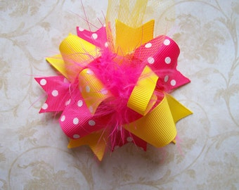 Hair Bow---MINI Funky Fun Over the Top Bow---Strawberry Lemonade---Pink and Yellow