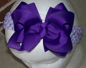 Hair Bow---Boutique Double Layer Bow----Purple---