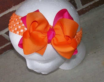Hair Bow---Boutique Double Layer Bow----Hot Pink and Orange---Great for SUMMER