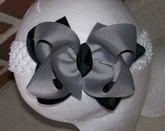 Hair Bow---Boutique Double Layer Bow----Black and Grey---