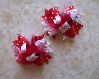 Hair Bows Set of 2---Mini Funky Fun Over the Top Bows---Take me out to the Ball Game---Red and Baseball