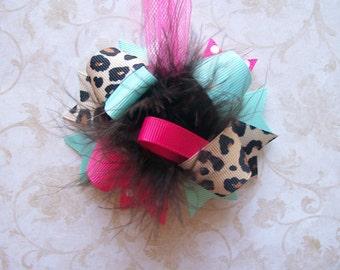 Hair Bow, Colorful Hair Ribbon, Custom Baby Hairbow, Ribbon Hair Clip, Baby Hair Bow Clip, Pink Bow, Aqua Bow, Cheetah Bow