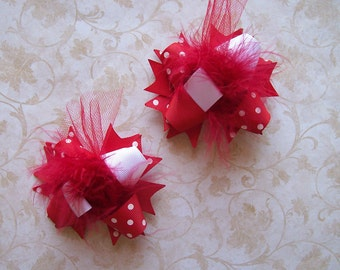 Hair Bows Set of 2---Mini Funky Fun Over the Top Bows---Red---Great Basic Color