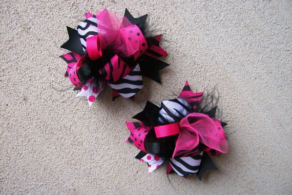 Pigtail Hair Bows, Colorful Hair Ribbon, Custom Baby Hairbow, Ribbon Hair Clip, Baby Hair Bow Clip, Pink and Black Bow