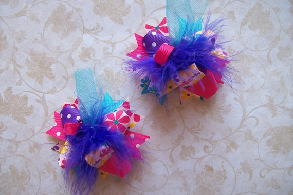 Hair Bows Set of 2---Mini Funky Fun Over the Top Bows---Flower Power----Great for Summer---