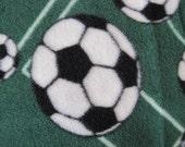 Soccer Balls on Green with Gray Fleece Blanket