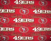 San Francisco 49ers Football Emblems and Logos on Red with Black Blanket - Ready to Ship Now
