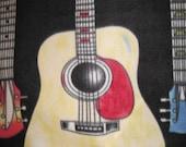 7 Fancy Guitars on Black with Blue - 2 Layer Handmade Fleece Blanket