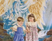 Angel and Children with Yellow - 2 Layer Fleece Blanket - Ready to Ship Now