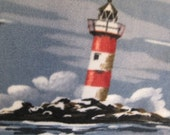 Fleece Blanket of Light Houses on Blue Water and Crashing Waves with Red - Ready to Ship Now
