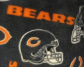 Chicago Bears Football Logos, Helmets and Emblems on Blue with Orange Handmade Fleece Blanket