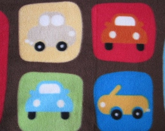 Cars Parked in Squares with Red Handmade Fleece Blanket - Ready to Ship Now