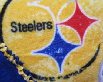 Pittsburgh Steelers on Gold with Blue - Fleece 2 Layer Handmade Blanket