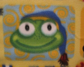 Frogs with Blue Handmade Fleece Blanket - This Blanket is Ready to Ship Now