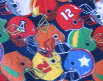 Football Helmets on Blue with Blue Handmade Fleece Blanket - Ready to Ship Now