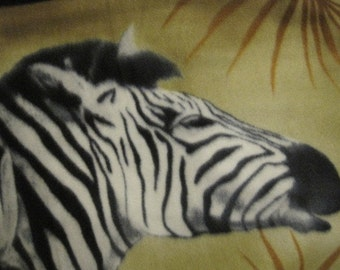 Fleece Blanket Handmade  - Zebras Among the Palm Fronds with Mottled Beige - Ready to Ship Now