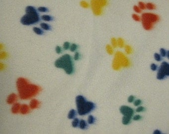 Ready to Ship Now - Paw Prints on White with Green Handmade Fleece Blanket