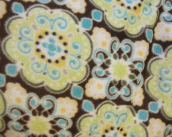Swirls and Curls on Brown with Aqua Blanket - Ready to Ship Now