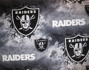 Oakland Raiders Logos on Gray Splatter with Black Fleece Blanket - Ready to Ship Now