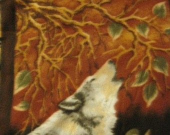 Fleece Blanket of Bears, Deer, Wolves in the Woods with Green - Ready to Ship Now